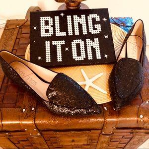 Sole Society Black Glitter 👞 Loafer Flats size 11